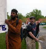 Protesting outside the 2004 Dow shareholder's meeting