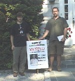 Outside the home of Union Carbide's former CEO, Warren Anderson, in 2003