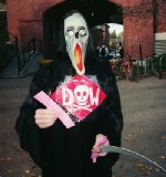 In costume as the Dow Grim Reaper, in 2003