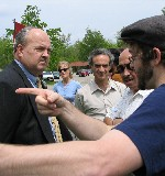 Asking Dow's PR spokesperson to leave our shareholder meeting protest, in 2004
