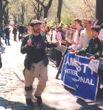 Leading 1500 people in a chant outside India's NY consulate, in 2005